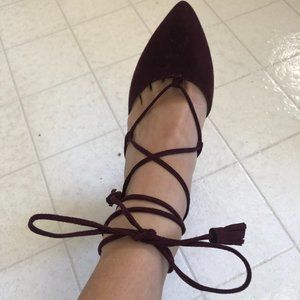 Maroon burgundy lace up high heel shoes